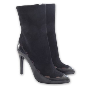 Giorgio Armani Suede Patent Leather Pointed Toe Cut-out Black Boots