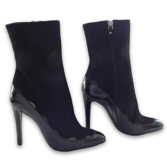 Giorgio Armani Suede Patent Leather Pointed Toe Cut-out Black Boots Image 3