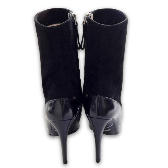 Giorgio Armani Suede Patent Leather Pointed Toe Cut-out Black Boots Image 5