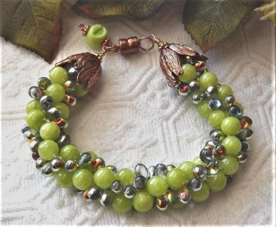Handmade Copper and Glass Beaded Magnetic Plus Size Bracelet Image 1
