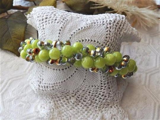 Handmade Copper and Glass Beaded Magnetic Plus Size Bracelet Image 2