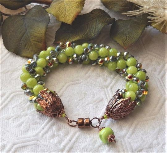 Handmade Copper and Glass Beaded Magnetic Plus Size Bracelet Image 4