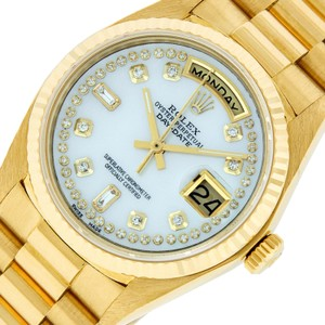 Rolex Mens Datejust 18k Yellow Gold with MOP Diamond Dial Watch