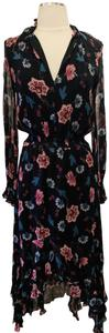 black and multicolor Maxi Dress by INTERMIX Silk Longnsleeves Printed Flowers Floral