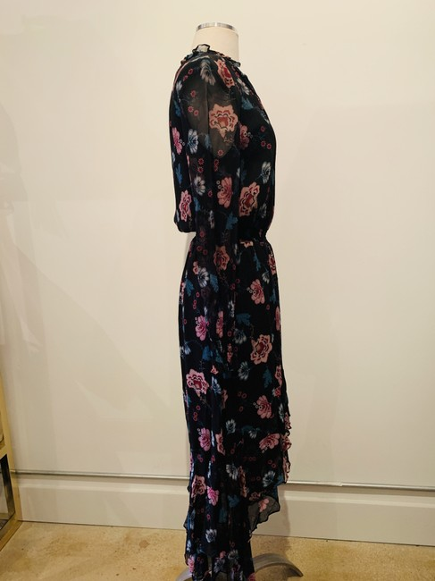 black and multicolor Maxi Dress by INTERMIX Silk Longnsleeves Printed Flowers Floral Image 1
