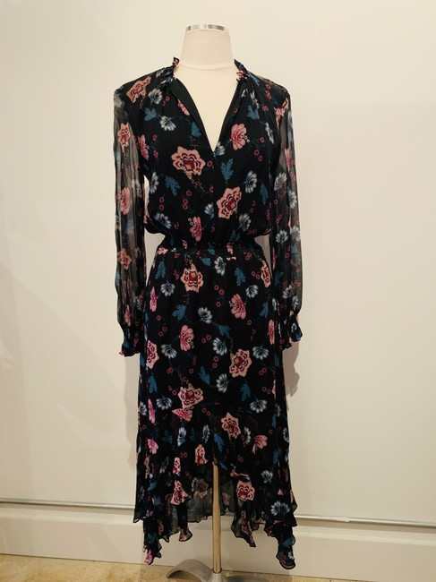 black and multicolor Maxi Dress by INTERMIX Silk Longnsleeves Printed Flowers Floral Image 2