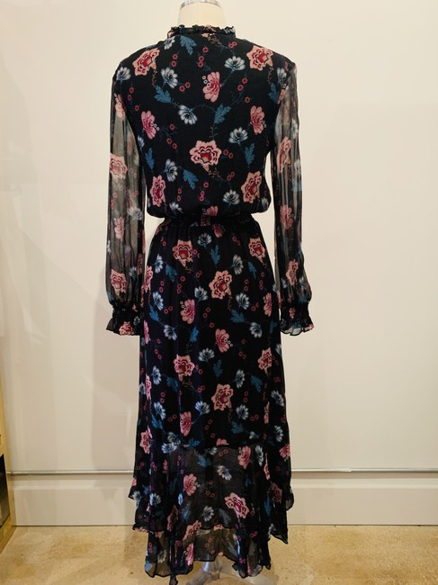 black and multicolor Maxi Dress by INTERMIX Silk Longnsleeves Printed Flowers Floral Image 3