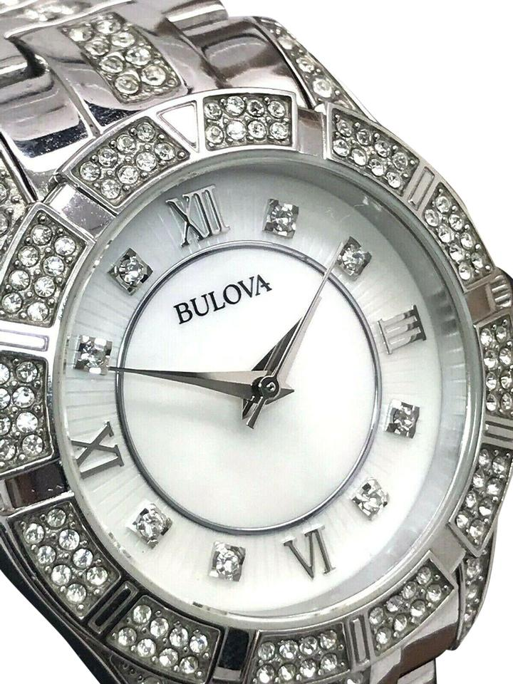 238e2ba0aba23 Bulova Silver 96l116 Crystal Accented Mother Of Pearl Dial Ladies Watch 81%  off retail