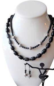 Handmade OOAK Handcrafted Sterling Silver Black Onyx & Agate Necklace Set