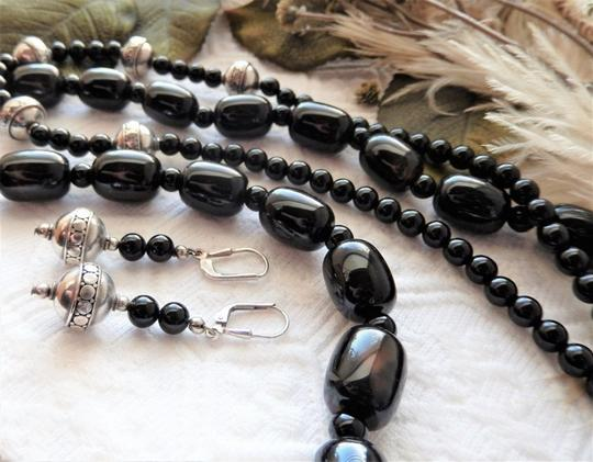 Handmade OOAK Handcrafted Sterling Silver Black Onyx & Agate Necklace Set Image 2