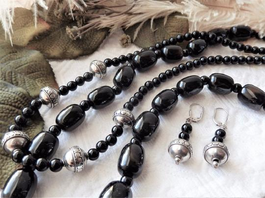 Handmade OOAK Handcrafted Sterling Silver Black Onyx & Agate Necklace Set Image 3