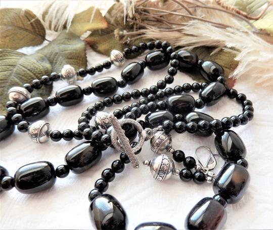 Handmade OOAK Handcrafted Sterling Silver Black Onyx & Agate Necklace Set Image 4