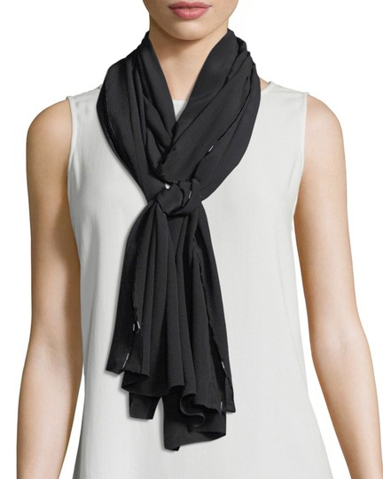 Eileen Fisher Eileen Fisher Black Bead-Trimmed Silk Crepe de Chine Scarf/Wrap Image 1