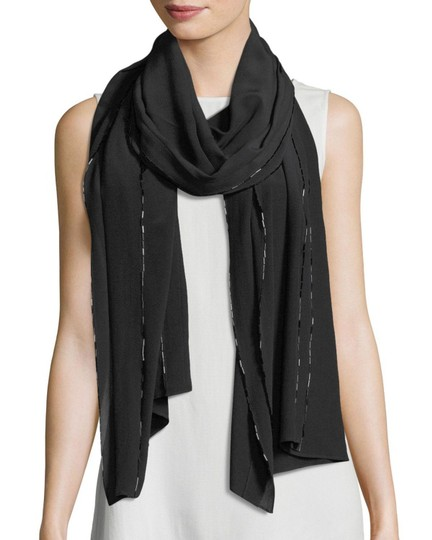 Eileen Fisher Eileen Fisher Black Bead-Trimmed Silk Crepe de Chine Scarf/Wrap Image 2