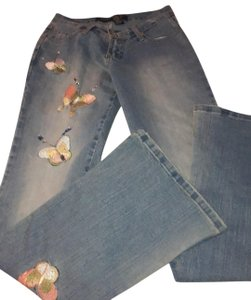 Blue Point Jeans With Butterflies Skinny Jeans Size 3 Skinny Jeans-Light Wash