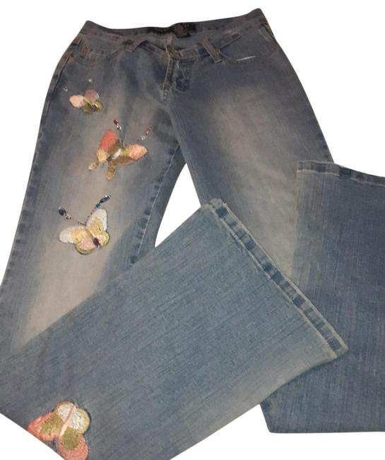 Blue Point Jeans With Butterflies Skinny Jeans Size 3 Skinny Jeans-Light Wash Image 0