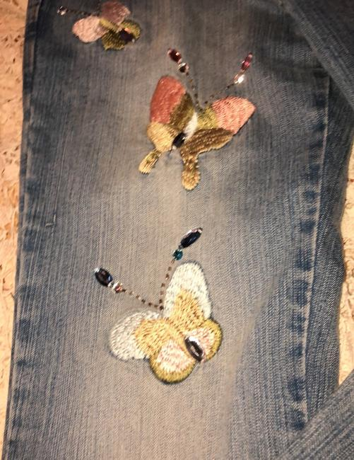 Blue Point Jeans With Butterflies Skinny Jeans Size 3 Skinny Jeans-Light Wash Image 2