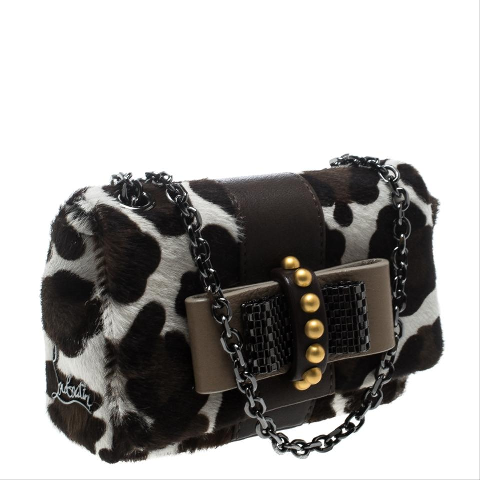 ce6fa4b1b5a Christian Louboutin Animal Print Mini Sweet Charity White Calf Hair  Shoulder Bag 35% off retail