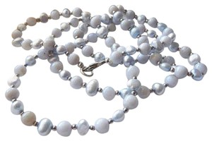 Handmade Long Sterling Silver Blue Freshwater Pearl & Chalcedony Necklace