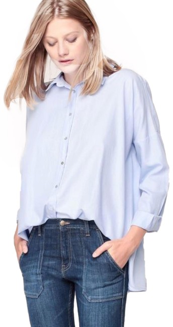 Preload https://img-static.tradesy.com/item/25553176/ba-and-sh-sky-blue-taylor-oversized-lightweight-button-up-shirt-button-down-top-size-10-m-0-1-650-650.jpg