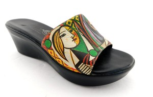 Icon Girl Before A Mirror Patriz Black PICASSO Painting Sandals