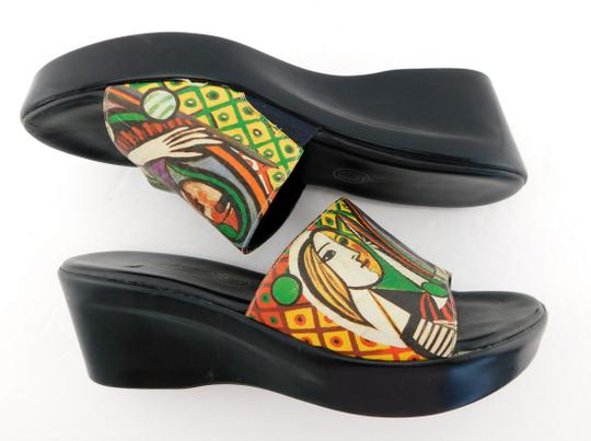 Icon Girl Before A Mirror Patriz Black PICASSO Painting Sandals Image 3