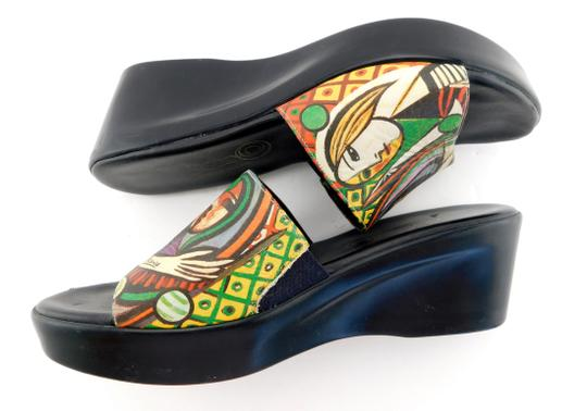 Icon Girl Before A Mirror Patriz Black PICASSO Painting Sandals Image 4