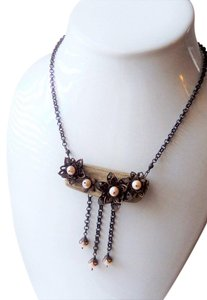 Handmade Unique Handcrafted Brass Copper Wood Pearl Statement Adjust Necklace