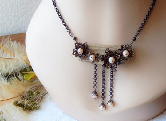 Handmade Unique Handcrafted Brass Copper Wood Pearl Statement Adjust Necklace Image 2