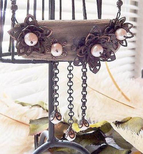 Handmade Unique Handcrafted Brass Copper Wood Pearl Statement Adjust Necklace Image 3