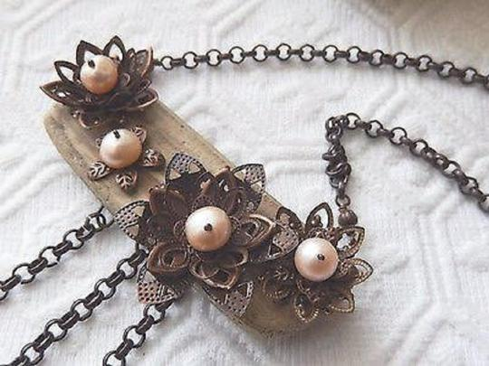 Handmade Unique Handcrafted Brass Copper Wood Pearl Statement Adjust Necklace Image 4