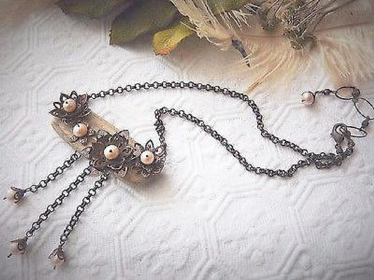 Handmade Unique Handcrafted Brass Copper Wood Pearl Statement Adjust Necklace Image 5