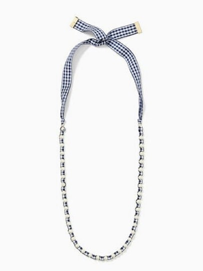 Kate Spade NEW Pretty Pearly Gingham Ribbon Long Image 5