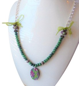 Handmade One of a Kind Gemstone Sterling Polymer Ribbon Mixed Media Necklace