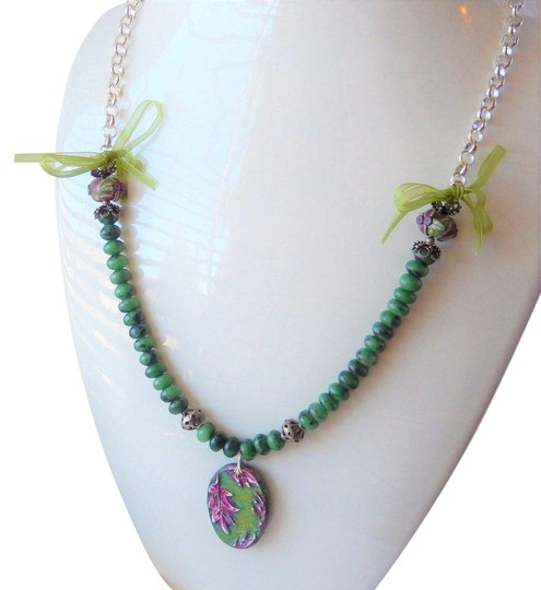 Handmade One of a Kind Gemstone Sterling Polymer Ribbon Mixed Media Necklace Image 0