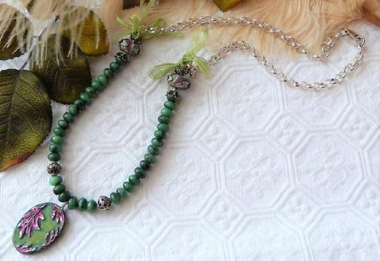 Handmade One of a Kind Gemstone Sterling Polymer Ribbon Mixed Media Necklace Image 4