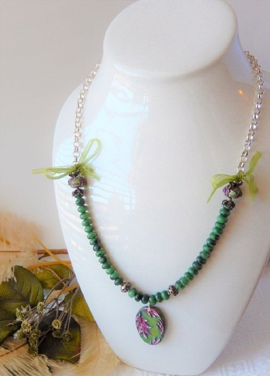Handmade One of a Kind Gemstone Sterling Polymer Ribbon Mixed Media Necklace Image 6