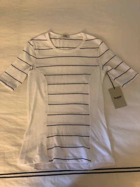 Tenfold Los Angeles Isobel Fitted T-shirt Nautical T Shirt White & Navy Image 1