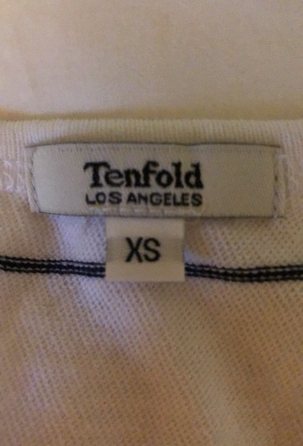 Tenfold Los Angeles Isobel Fitted T-shirt Nautical T Shirt White & Navy Image 3
