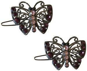 Chomel Jeweled butterfly hair clips