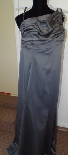 Alfred Angelo Charcoal 7379l Traditional Bridesmaid/Mob Dress Size 6 (S) Image 4