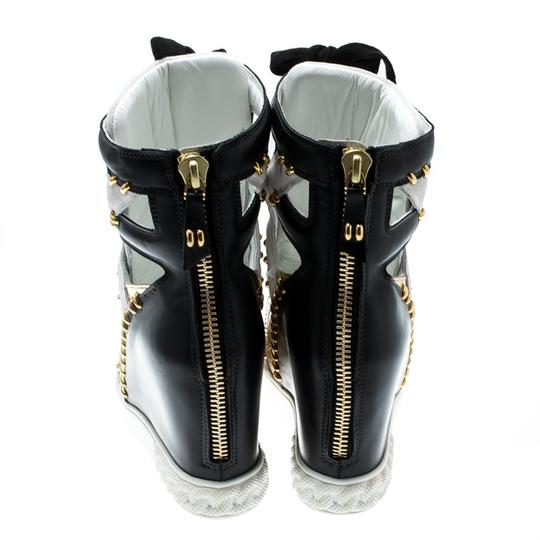 Casadei Suede Leather Studded Patent Leather Multicolor Wedges Image 2