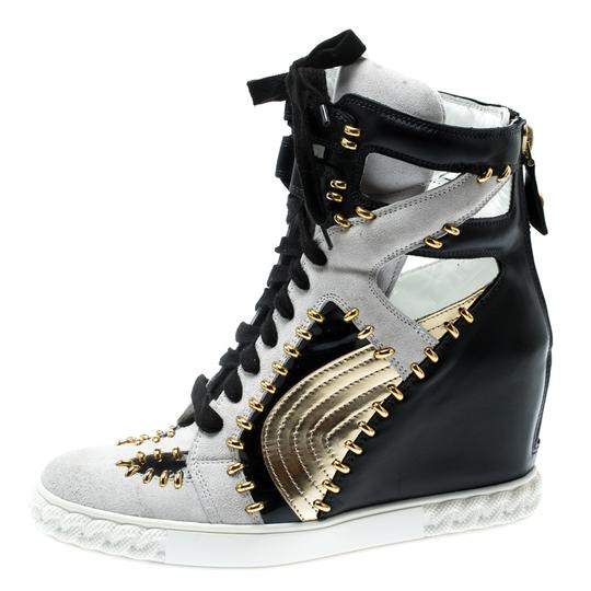 Casadei Suede Leather Studded Patent Leather Multicolor Wedges Image 6