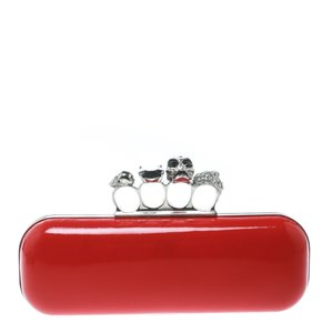 Alexander McQueen Patent Leather Leather Red Clutch