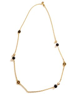 Tory Burch Black New Convertible Lacquered Logo Rosary Necklace