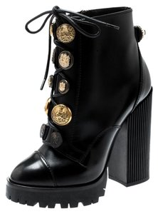 Dolce&Gabbana Embellished Leather Ankle Gold Rubber Black Boots