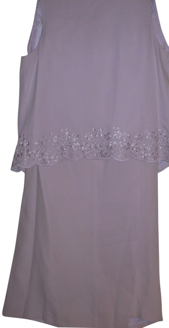 Item - Lilac Lavender Embroidered Sleeveless Vest Full A-line Maxi Silk Skirt Suit Size 6 (S)