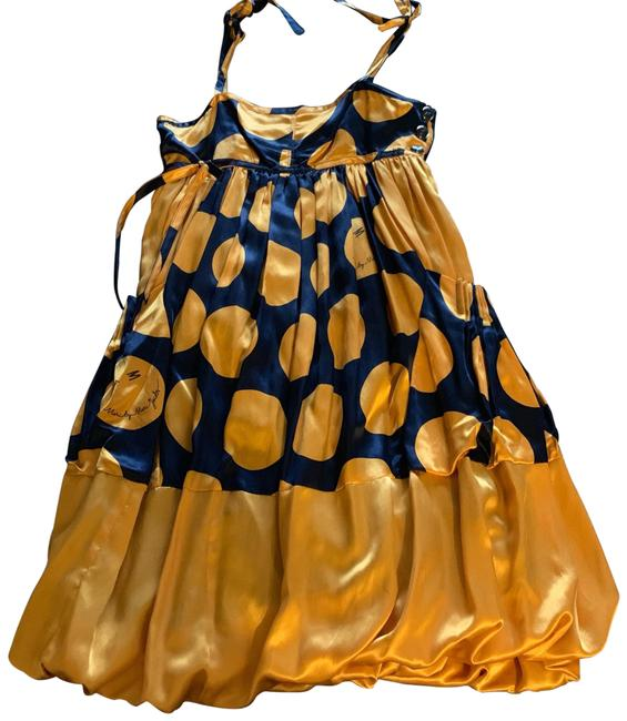 Marc by Marc Jacobs Navy With Gold Polka Dot Silk Mid-length Formal Dress Size 2 (XS) Marc by Marc Jacobs Navy With Gold Polka Dot Silk Mid-length Formal Dress Size 2 (XS) Image 1