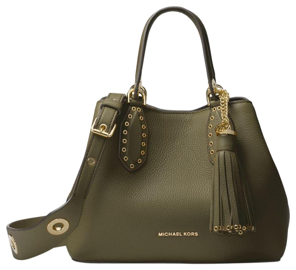 01037e80f Michael Kors Brooklyn Small Olive Green Leather Satchel - Tradesy