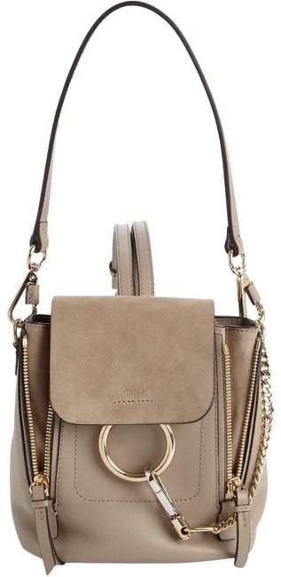 Item - Faye Mini Suede Motty Gray Leather Backpack